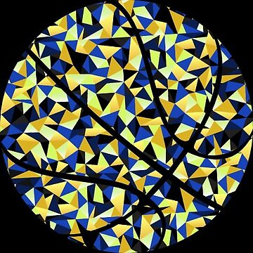 Kaleidoscope Basketball Blue Yellow Polygon by Distrill