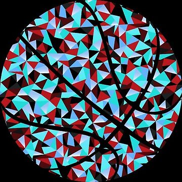 Kaleidoscope Basketball Red Blue Black Polygon by Distrill