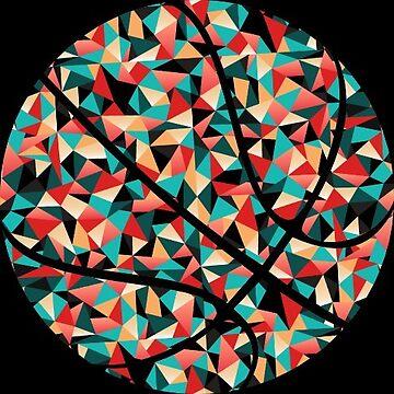 Kaleidoscope Basketball Geometrical Polygon by Distrill
