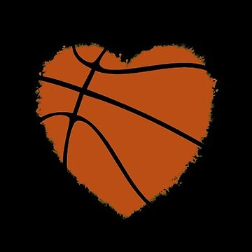 Orange Basketball Heart by Distrill