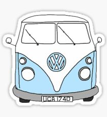 blue hippie van Sticker