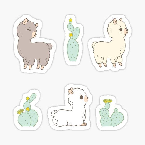 Cactus and alpaca pattern in blue  Sticker
