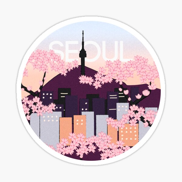Seoul Tower With Woodblock Style Cherry Blossoms South Korea  Sticker