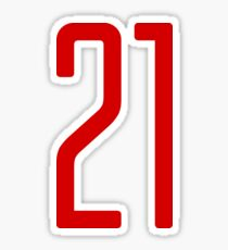 Tall red number 21 Sticker