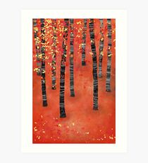 Birches - Autumn Woodland Abstract Landscape Art Print