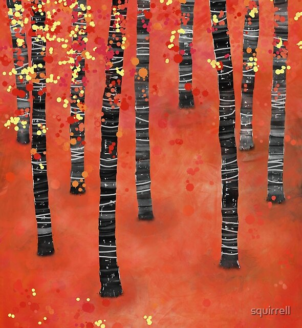 Birches - Autumn Woodland Abstract Landscape by Nic Squirrell
