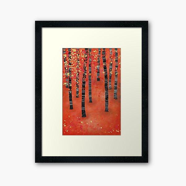 Birches - Autumn Woodland Abstract Landscape Framed Art Print