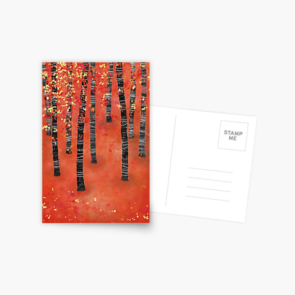Birches - Autumn Woodland Abstract Landscape Postcard