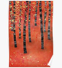 Birches - Autumn Woodland Abstract Landscape Poster