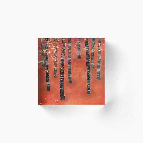 Birches - Autumn Woodland Abstract Landscape Acrylic Block