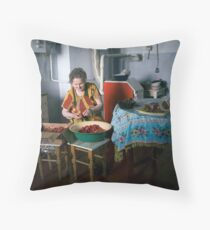 Cleaning Strawberries Throw Pillow