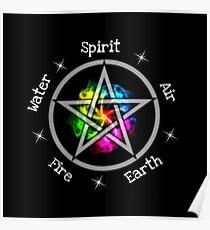 Pagan Wicca Elemental Pentagramm Poster