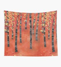 Birches - Autumn Woodland Abstract Landscape Wall Tapestry