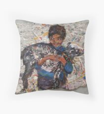 Child With Goat Throw Pillow