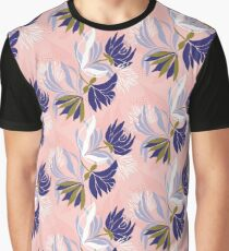Soft, delicate, feminine blue floral on a pink base Graphic T-Shirt