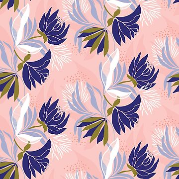 Soft, delicate, feminine blue floral on a pink base by Pattern-Design
