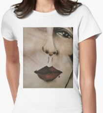 Acrylic Artwork Painting Graphic Print Women's Fitted T-Shirt