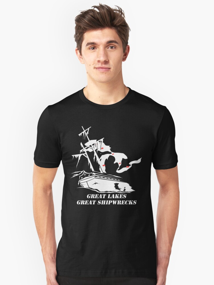 Great Lakes, Great Shipwrecks - White Unisex T-Shirt Front