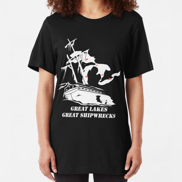 Great Lakes, Great Shipwrecks - White Slim Fit T-Shirt
