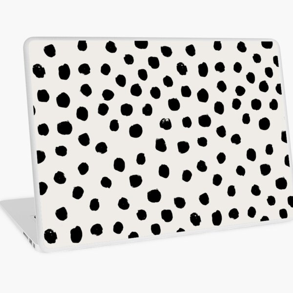 Preppy brushstroke free polka dots black and white spots dots dalmation animal spots design minimal Laptop Skin