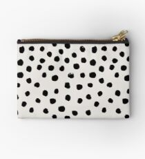 Preppy brushstroke free polka dots black and white spots dots dalmation animal spots design minimal Studio Pouch