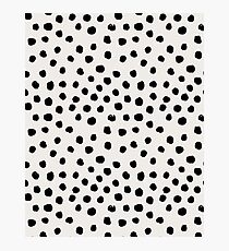 Preppy brushstroke free polka dots black and white spots dots dalmation animal spots design minimal Photographic Print