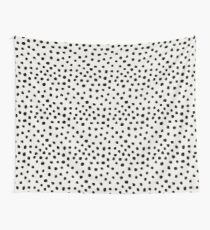 Preppy brushstroke free polka dots black and white spots dots dalmation animal spots design minimal Wall Tapestry