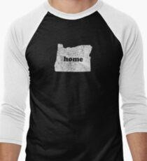 Oregon Home Love Vintage State Map Silhouette Oregonian Men's Baseball ¾ T-Shirt