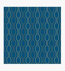 Retro Geometric Pattern-Blue background. Photographic Print