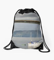 Yacht moored at Kyleakin, Isle of Skye Drawstring Bag