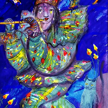 FLUTIST IN BLUE / Venetian Carnival Night by BulganLumini
