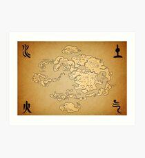 Lámina artística Avatar: Last Airbender world Map