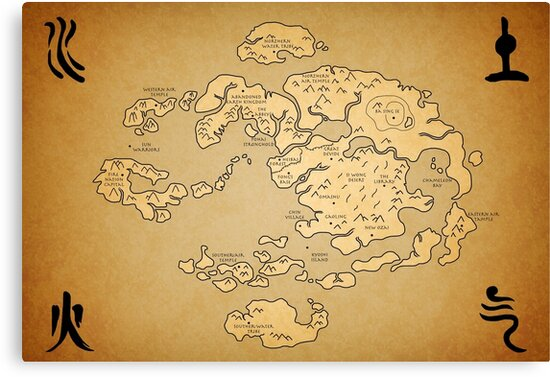 Avatar Last Airbender World Map Canvas Prints By Kewlzidane