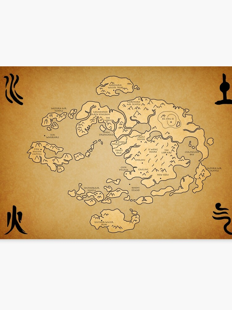Avatar: Last Airbender world Map   Canvas Print