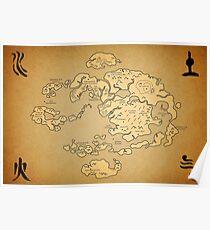 Avatar: Last Airbender world Map Poster