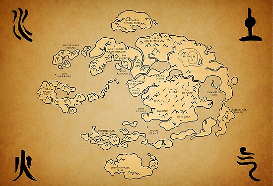 Avatar Last Airbender World Map Photographic Prints By Kewlzidane