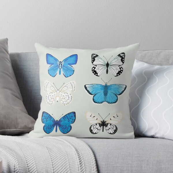 Lepitoptery No. 2 - Blue and White Butterflies and Moths Throw Pillow