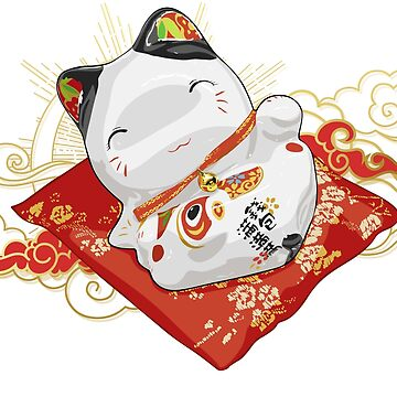 Japanese lucky Cat T-shirt by pavelomg