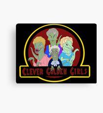 Clever Golden Girls - Black Background Canvas Print