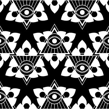 All Seeing Eye Black and White Pattern by musingtree