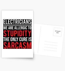 Funny Electricians Stupidity Sarcasm T-shirt Postcards