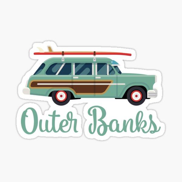 Outer Banks OBX North Carolina Retro Surf Wagon Sticker