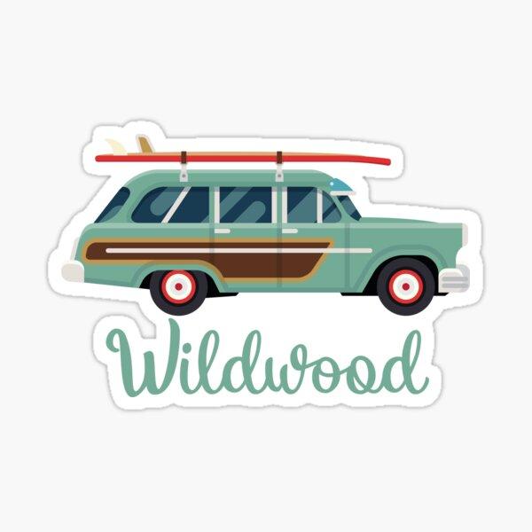 Wildwood, NJ Retro Beach Surf Wagon Souvenir Sticker