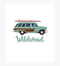 Wildwood, NJ Retro Beach Surf Wagon Souvenir Photographic Print