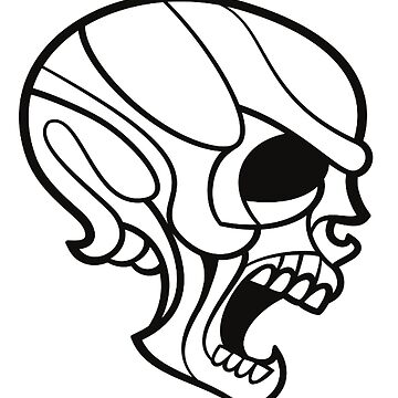 SCREAMING SKULL, Black on white by TOMSREDBUBBLE
