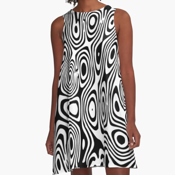 Hippy Psychedelic. Black and White. A-Line Dress