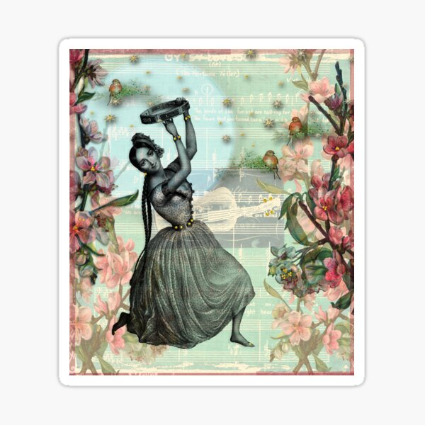 Gypsy Love Song - Enchanting Bewitching Gypsy Woman Design in Soft Glow Pink, Blue and Green Colors Sticker