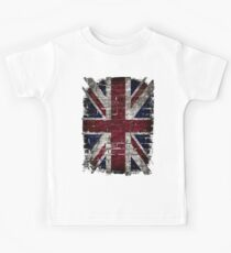 Grunge UK Flag, Great Britain, Punk Style Distressed Wall Kids Tee