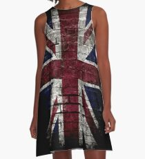 Grunge UK Flag, Great Britain, Punk Style Distressed Wall A-Line Dress