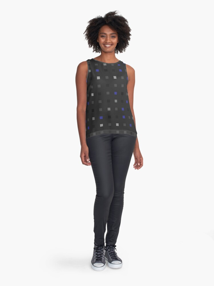 Alternate view of Pixel squares playful blue on black pattern Sleeveless Top